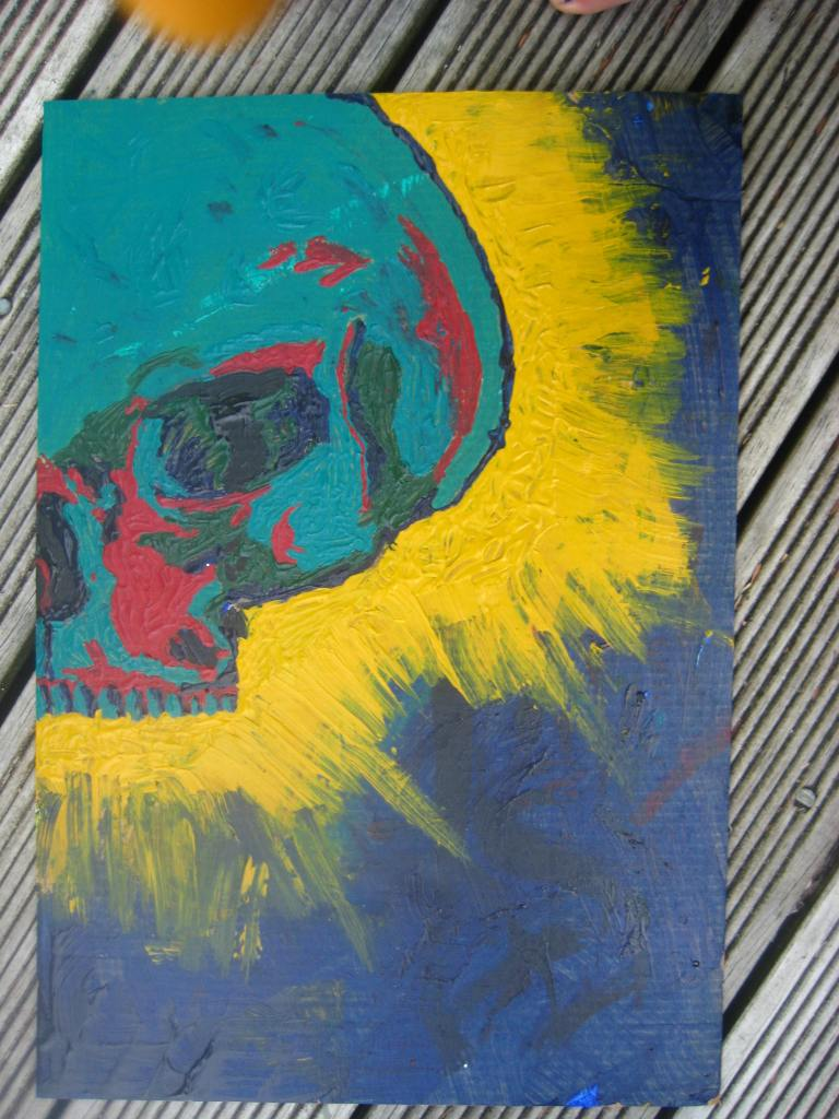 acrylic painting, paint, skull, glowing skull, yellow, blue, green, aquamarine, no brush